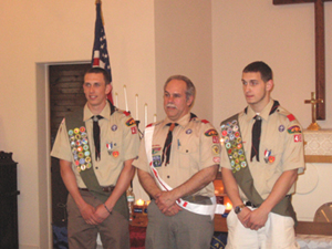 Recent Eagle Scouts John Pilmer and David Bilinski with Scoutmaster Jeff Jerabek
