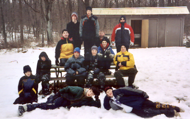 E-Prep Search & Rescue Simulation, BSA Camp Lowden, February 22, 2004.  Photo by Ken Gallagher.